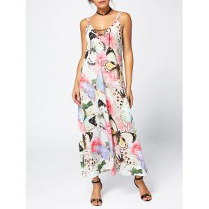 Rose Butterfly Print Slip Maxi Dress
