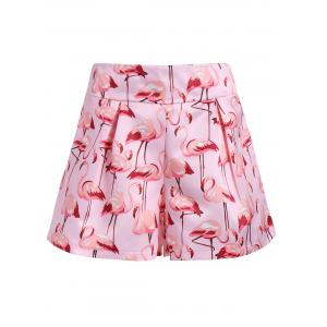 Flamingo Print High Waist Mini Shorts