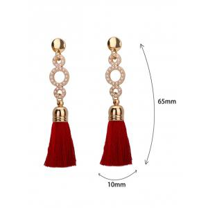Tassel Small Faux Pearl Circle Long Earrings -