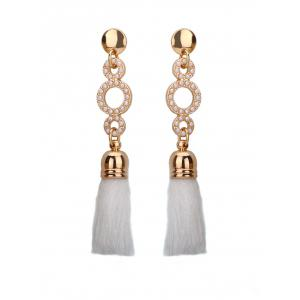 Tassel Small Faux Pearl Circle Long Earrings - White