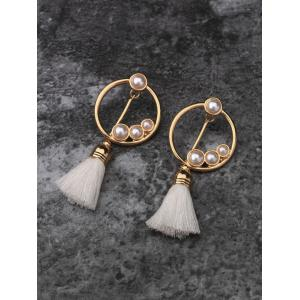 Hollow Circle Faux Pearl Tassel Pendant Earrings