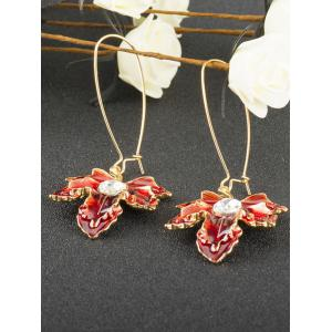 Maple Leaf Oil Drip Embellished Fish Hook Earrings