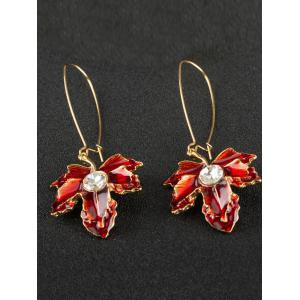 Maple Leaf Oil Drip Embellished Fish Hook Earrings - WINE RED