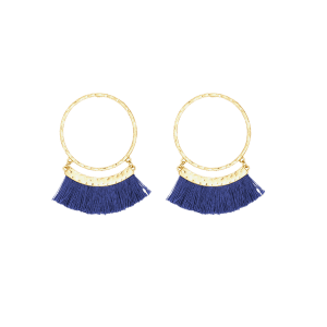 Statement Stud Hoop Earrings with Fringed - BLUE