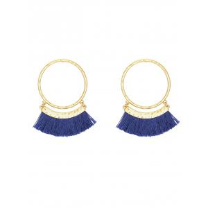 Statement Stud Hoop Earrings with Fringed