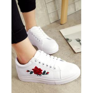 Embroidery Faux Leather Athletic Shoes - WHITE 37