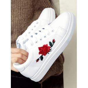 Embroidery Faux Leather Athletic Shoes - WHITE 38