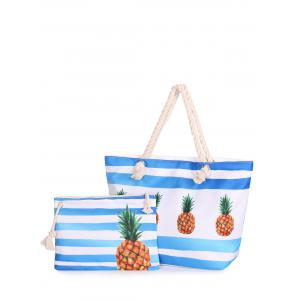 Striped 2 Pieces Shoulder Bag Set - Blue - 39