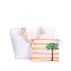Striped 2 Pieces Shoulder Bag Set - BRIGHT ORANGE