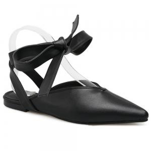 Point Toe Slingback Lace Up Flats - Black - 37