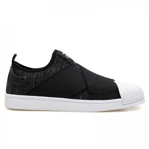Elastic Band Stretch Fabric Casual Shoes - Black - 44