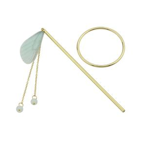 Alloy Fringed Chain Circle Beads Hair Stick - GREEN