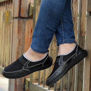 Faux Leather Panels Hollow Out Slip On Sneakers - Noir 40
