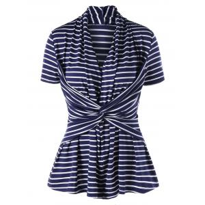 Twist Front Striped Slimming Top