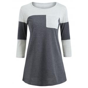 Color Block Pocket Tunic T-shirt - Gray - Xl