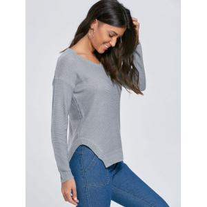 Knit Side Slit V Neck Sweater - GRAY XL