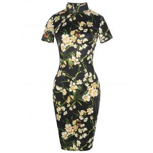 Vintage Floral Cheongsam Short Sleeve Sheath Dress