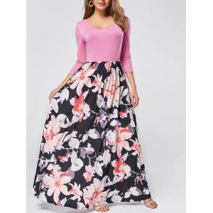 Floral Scoop Neck Maxi Dress - Pink - Xl