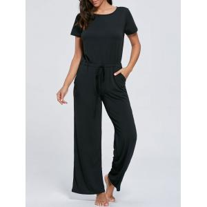 Casual Pocket Short Sleeve Drawstring Jumpsuit