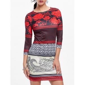 Tribal Print Mini Bodycon Dress - Colormix - L