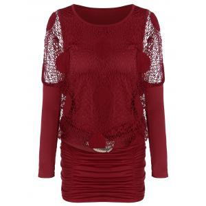Ruched Fishnet Long Sleeve Short Dress - Burgundy - M