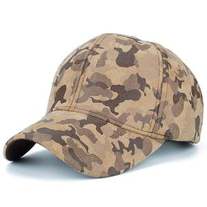 Camouflage Pattern Faux Suede Baseball Hat - Khaki