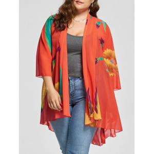 Butterfly Printed Plus Size Kimono Cover Up