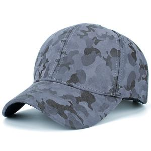 Camouflage Pattern Faux Suede Baseball Hat - Gray