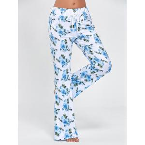 Drawstring Waist Long Floral Pajama Pants
