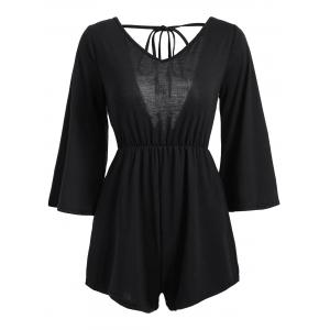 V Neck Tassel Open Back Romper