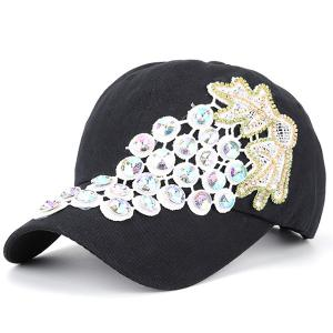 Grape Design Patchwork Rhinestone Baseball Hat - Black