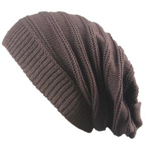 Stacking Striped Ribbing Knitted Beanie Hat - Coffee