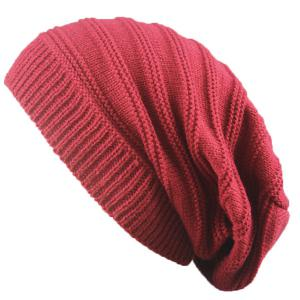 Stacking Striped Ribbing Knitted Beanie Hat - Claret
