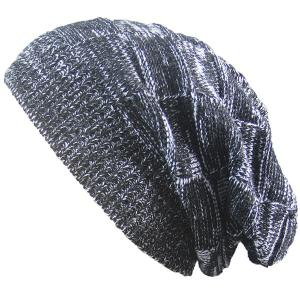 Warm Striped Rib Knitting Beanie - Black