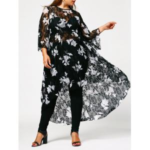 Plus Size Floral High Low Lace Dress - Black - 4xl