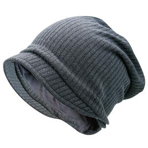 Warm Stripe Knitting Beanie - Gray
