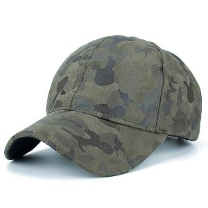 Camouflage Pattern Faux Suede Baseball Hat - Army Green