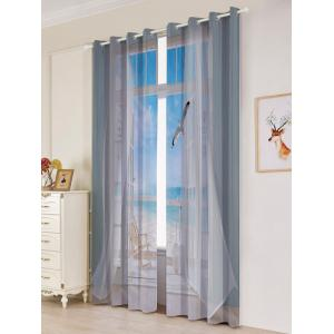 2Pcs Blackout Faux Window Seagull Pattern Window Curtains - RAL9002 Gris Blanc Largeur53pouces*Longeur84.5pouces