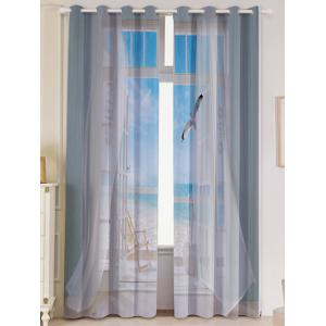 2Pcs Blackout Faux Window Seagull Pattern Window Curtains - Grey White - W53 Inch * L96.5 Inch