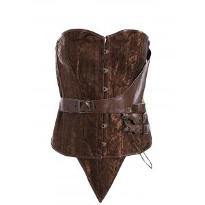 Plus Size Faux Leather Brocade Corset