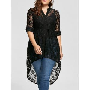 High Low Lace Long Sleeve Plus Size Top - Black - 5xl