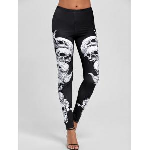 Skulls Pattern Skinny Pants - WHITE AND BLACK S