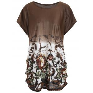 Printed Causal Plus Size Long T-shirt - Dark Camel - One Size