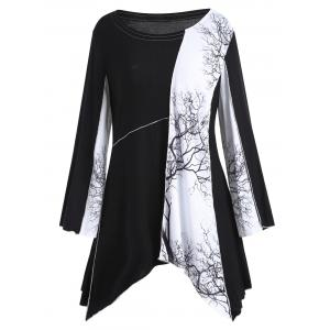 Plus Size Tree Graphic Long Sleeve Asymmetric Top