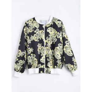 Plus Size Printed Zip Up Bomber Jacket - Black - 5xl