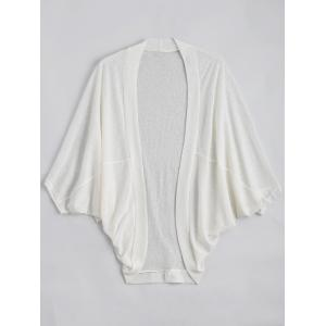 Plus Size Semi Sheer Collarless Batwing Sleeve Top - White - 4xl