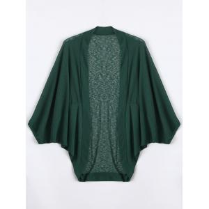 Plus Size Semi Sheer Collarless Batwing Sleeve Top - Deep Green - 2xl