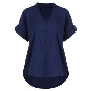 V Neck Button Up Plus Size Blouse - Purplish Blue - 5xl