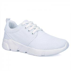 Eyelets Breathable Mesh Athletic Shoes - White - 40