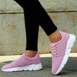 Eyelets Breathable Mesh Athletic Shoes - PINK 38